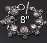 huge heavy multi different skull 925 sterling solid silver mens biker bracelet