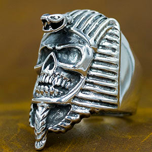 heavy pharaoh skull snake egypt 925 sterling silver authentic genuine mens ring