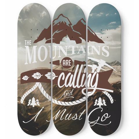 "3 Skateboard wall art ""The Mountains are Calling"""