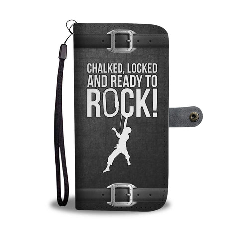Grunge Chalked Locked & Ready to Rock! Phone Wallet Case