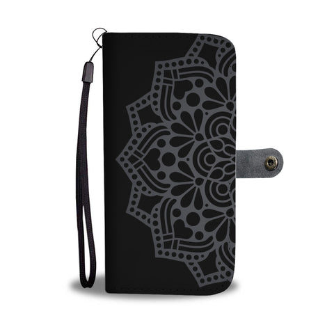 Black Floral Phone Wallet Case