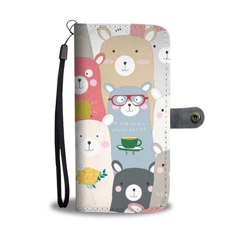 Cute Teddy Bear Phone Wallet Case