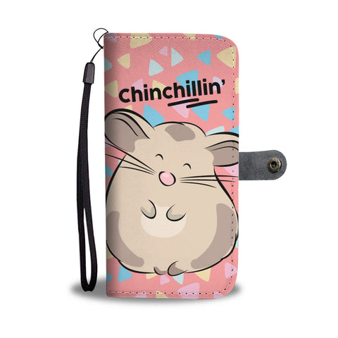 Soft Pink Chinchilla Phone Wallet Case