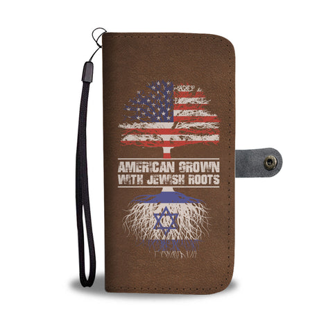 American Grown With Jewish Roots Phone Wallet Case