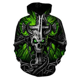 3D skull green eyes ox hoodies