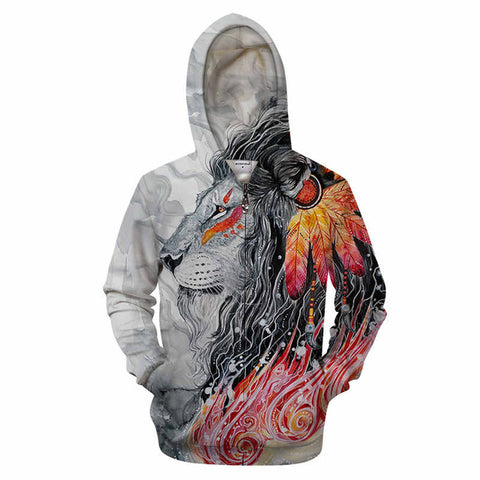 Warrior Lion Art 3D Printing Zipper Hoodie
