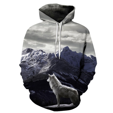 Wolf & Snow Mountain 3D Hoodies