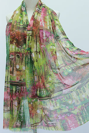 Architecture Watercolour Scarf Lime and Pinks
