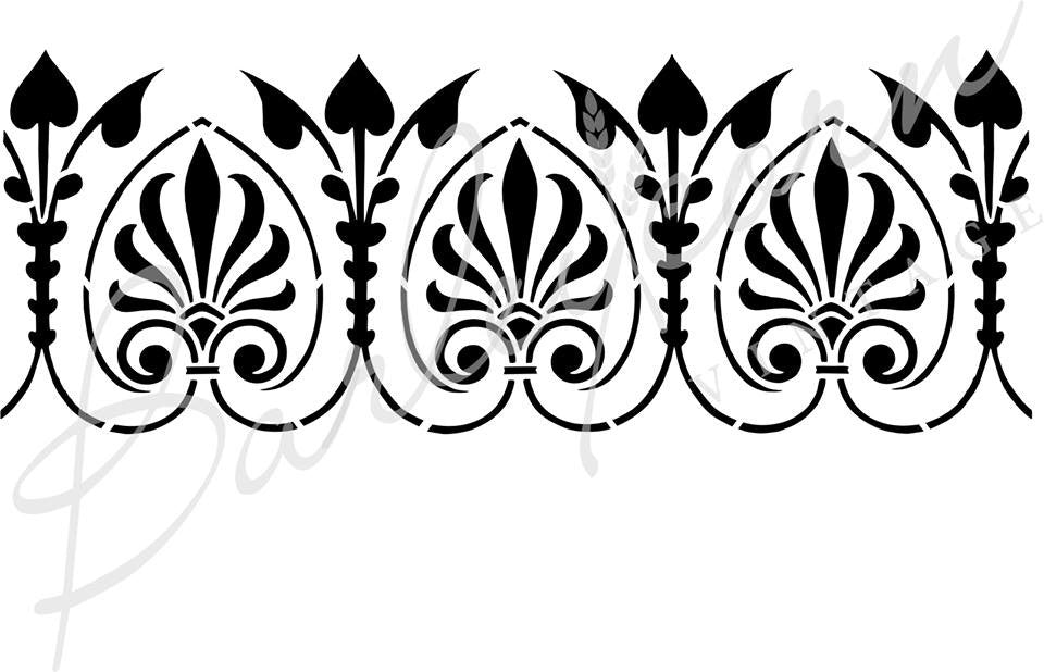 Art Nouveau Border Stencil| Paint Me Vintage | Tauranga, New Zealand | chalk paint | chalkpaint | furniture painting | vintage paint | stencils | IOD | Iron Orchid Design | furniture transfers | workshops | where to buy stencils | stencils for sale nz | plastic stencils nz | Barleycorn | craft stencils nz | Art Nouveau Border Stencil