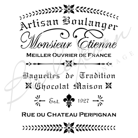Artisan Boulanger Very Large Stencil | Paint Me Vintage | Tauranga, New Zealand | chalk paint | chalkpaint | furniture painting | vintage paint | stencils | IOD | Iron Orchid Design | furniture transfers | workshops | where to buy stencils | stencils for sale nz | plastic stencils nz | Barleycorn | craft stencils nz | Artisan Boulanger Very Large Stencil