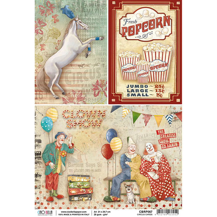 Circus Cards Rice Paper for Decoupage A4