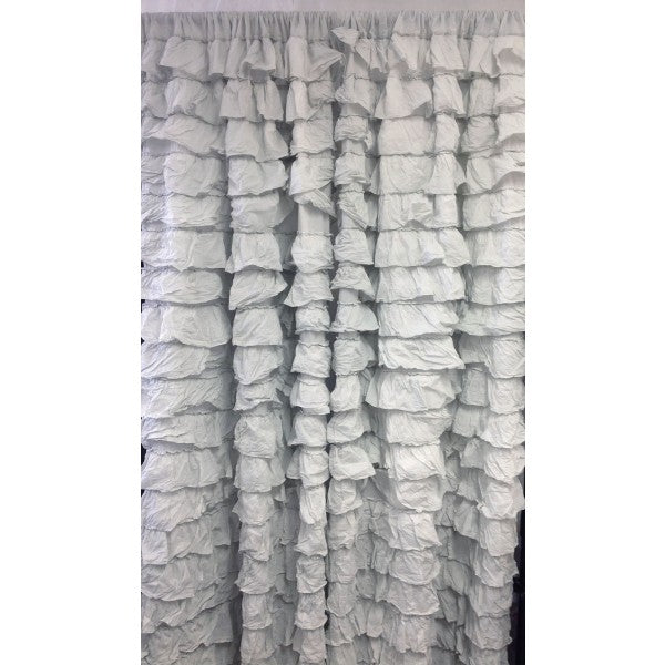 Curtain Frilled Cascade Ice-Grey Set of Two