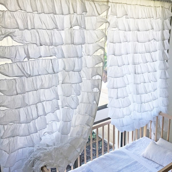 Curtain Frilled Cascade White Set of Two