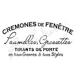 Cremones French Advertising Stencil Large | Paint Me Vintage | Tauranga, New Zealand | chalk paint | chalkpaint | furniture painting | vintage paint | stencils | IOD | Iron Orchid Design | furniture transfers | workshops | where to buy stencils | stencils for sale nz | plastic stencils nz | craft stencils nz | Cremones French Advertising Stencil Large
