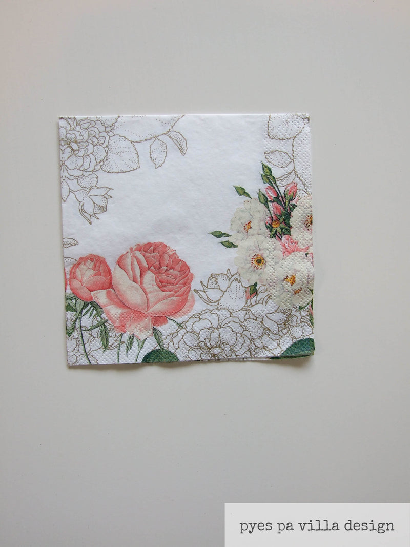Napkin for Decoupage Soft Apricot rose with Gold pattern NZ