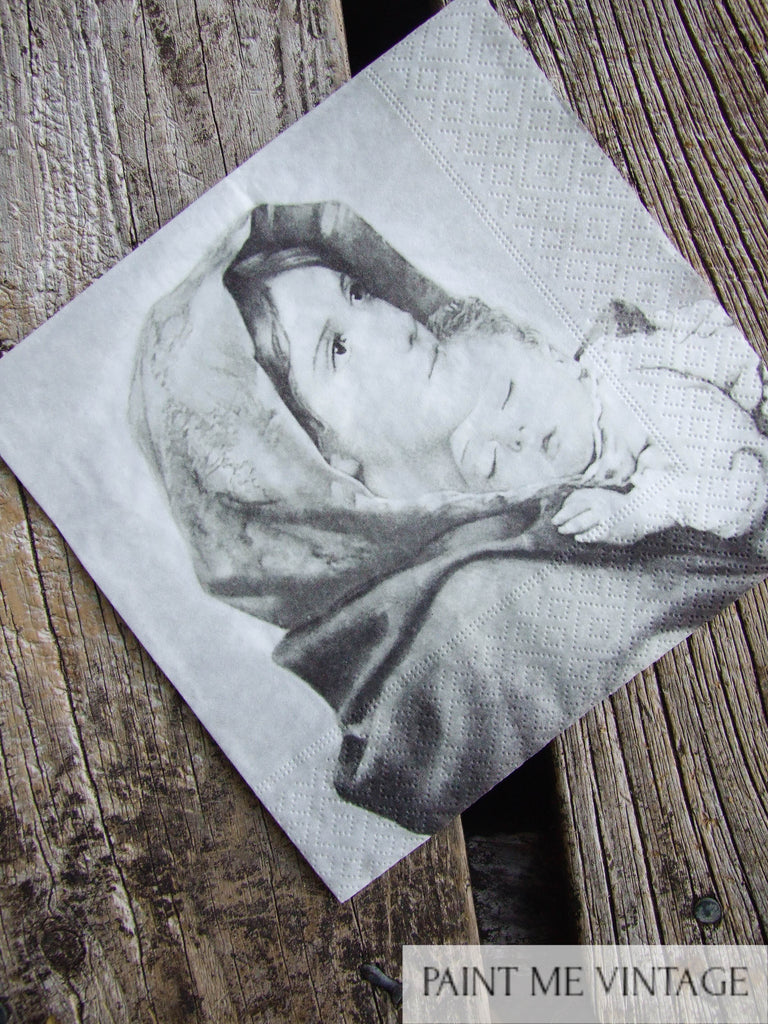 Napkin for Decoupage Mary with Child