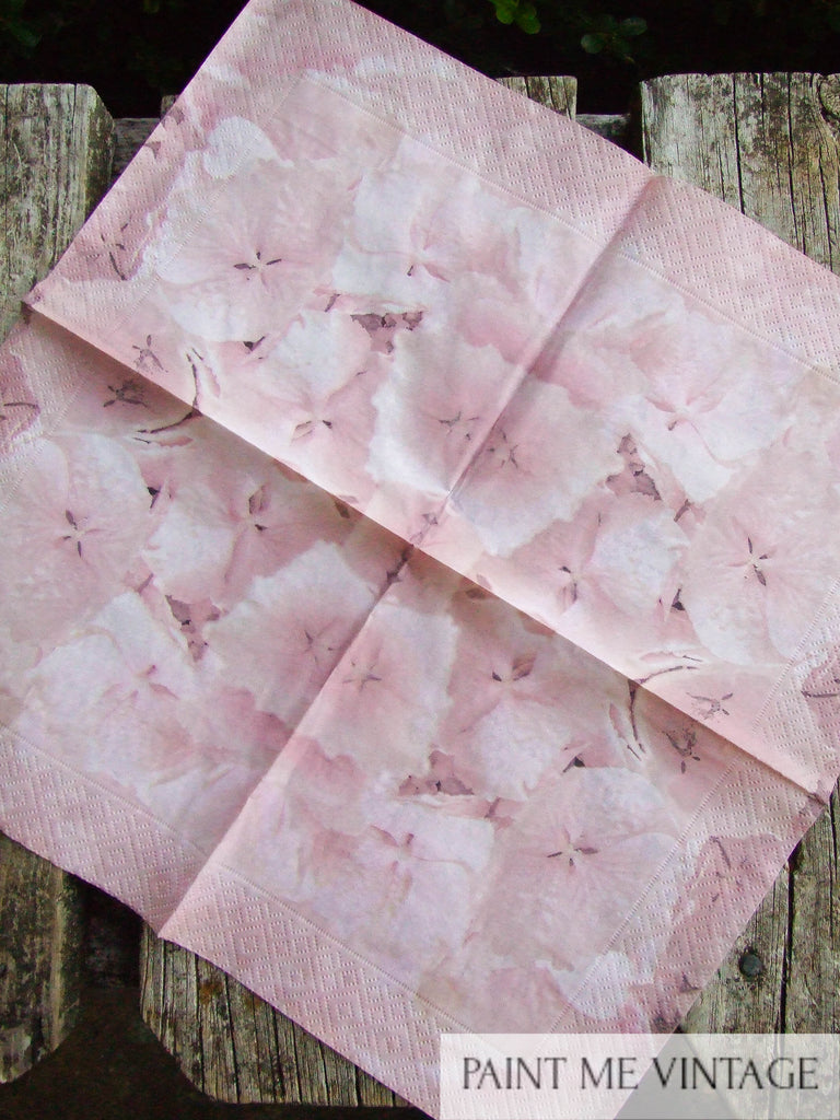 Napkin for Decoupage Pink Hydrangeas | Paint Me Vintage |  Tauranga, New Zealand | chalk paint | furniture painting | vintage paint | stencils | IOD | Iron Orchid Design | furniture transfers | workshops