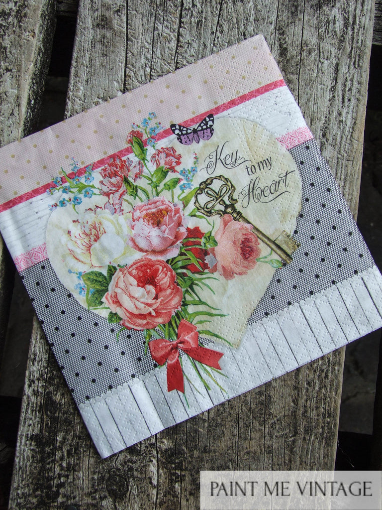 Napkin for Decoupage Key to my Heart