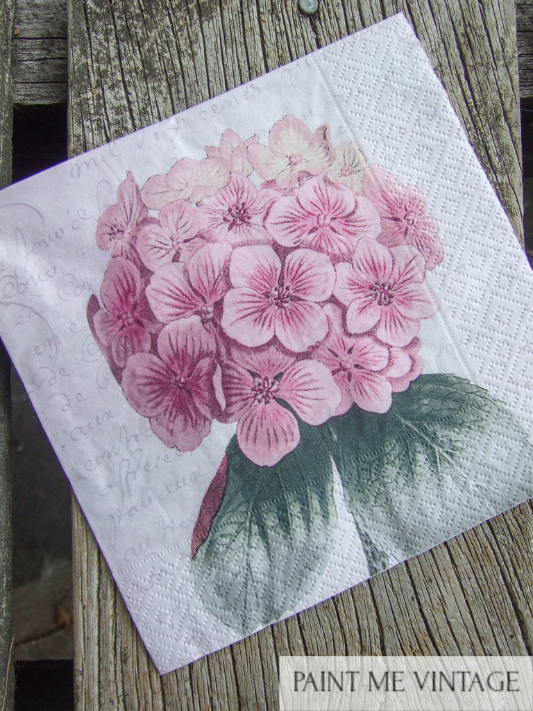 Napkin for Decoupage Pink Hydrangea Flower