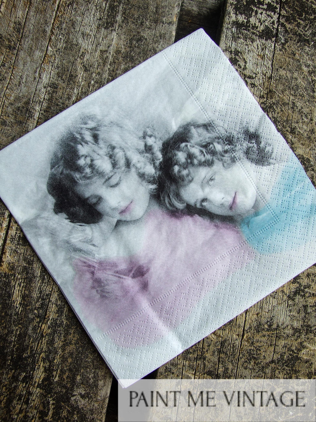 Napkin for Decoupage Vintage Pink and Blue Angel Girls | Paint Me Vintage | Tauranga, New Zealand | chalk paint | chalkpaint | silicone mould | furniture painting | vintage paint | stencils | IOD | Iron Orchid Design | coloured wax | furniture wax | furniture transfers | workshops | vintage paint nz | painting old furniture nz | upcycling furniture nz | vintage paint stockists | Napkin for Decoupage Vintage Pink and Blue Angel Girls