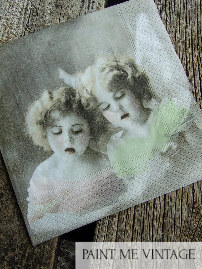 Napkin for Decoupage Vintage Singing Angels | Paint Me Vintage | Tauranga, New Zealand | chalk paint | chalkpaint | silicone mould | furniture painting | vintage paint | stencils | IOD | Iron Orchid Design | coloured wax | furniture wax | furniture transfers | workshops | vintage paint nz | painting old furniture nz | upcycling furniture nz | vintage paint stockists | Napkin for Decoupage Vintage Singing Angels