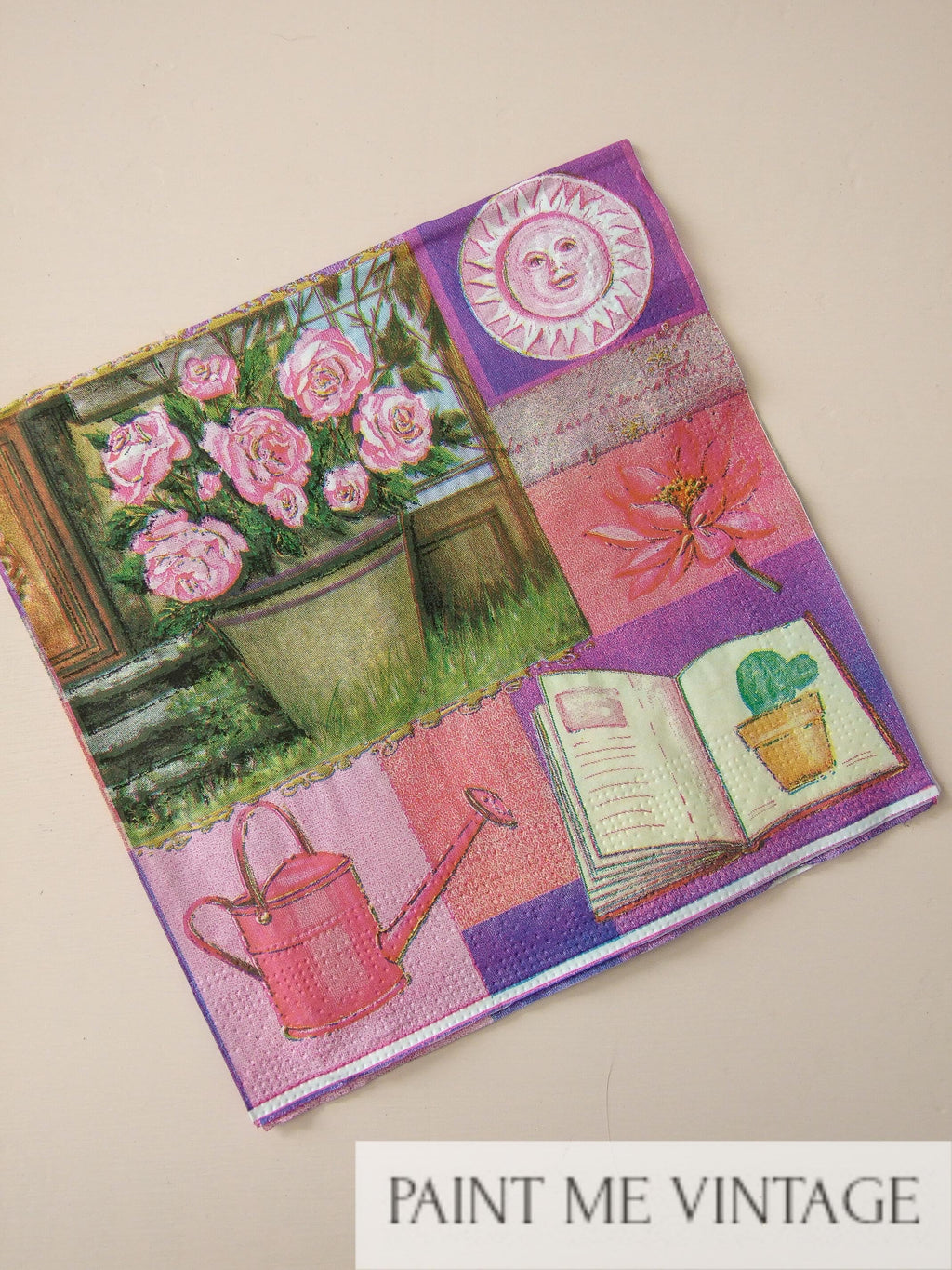 Napkin for Decoupage Bright Purple watering can NZ