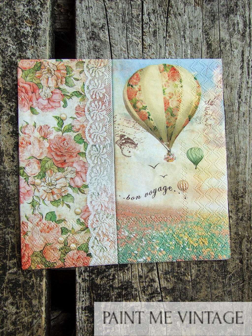 Napkin for Decoupage Air Balloon and Lace