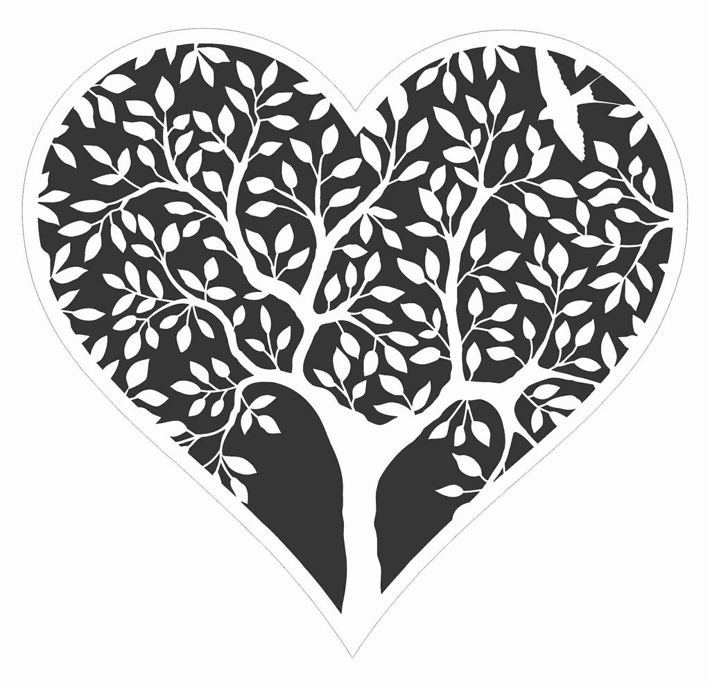 Tree in Heart Stencil