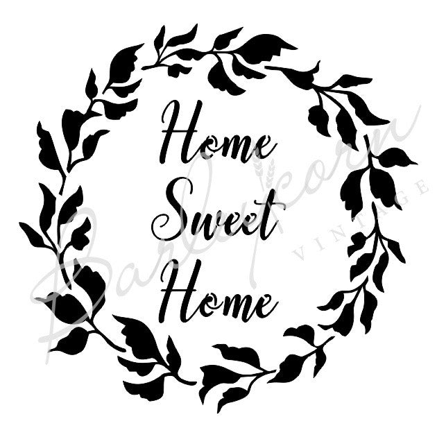 Home Sweet Home Wreath Stencil | Paint Me Vintage | Tauranga, New Zealand | chalk paint | chalkpaint | furniture painting | vintage paint | stencils | IOD | Iron Orchid Design | furniture transfers | workshops | where to buy stencils | stencils for sale nz | plastic stencils nz | craft stencils nz | Home Sweet Home Wreath Stencil