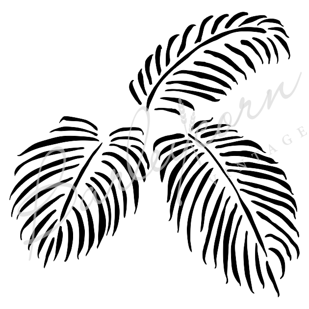 Palm Leaves Stencil medium | Paint Me Vintage | Tauranga, New Zealand | chalk paint | chalkpaint | furniture painting | vintage paint | stencils | IOD | Iron Orchid Design | furniture transfers | workshops | where to buy stencils | stencils for sale nz | plastic stencils nz | craft stencils nz | Palm Leaves Stencil medium