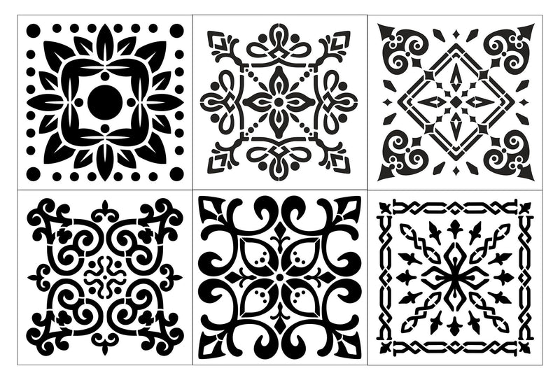 Traditional Floor Tile Stencil 30 x 30