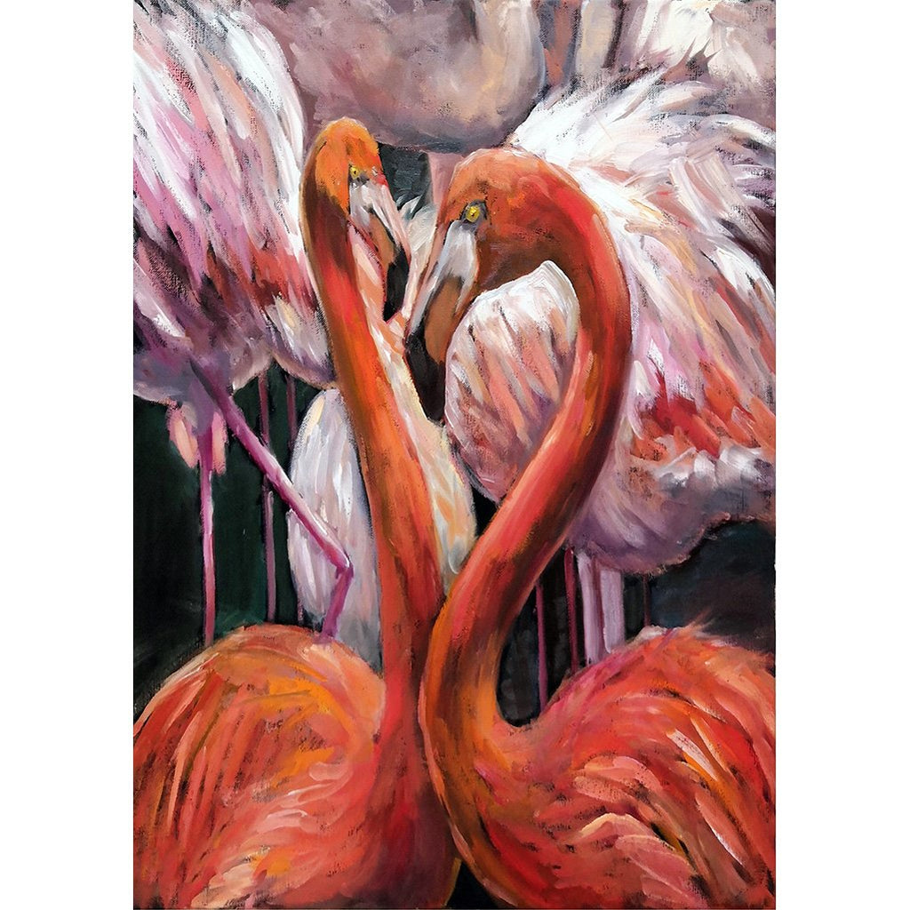 flamingo painted red pink decoupage paper A1