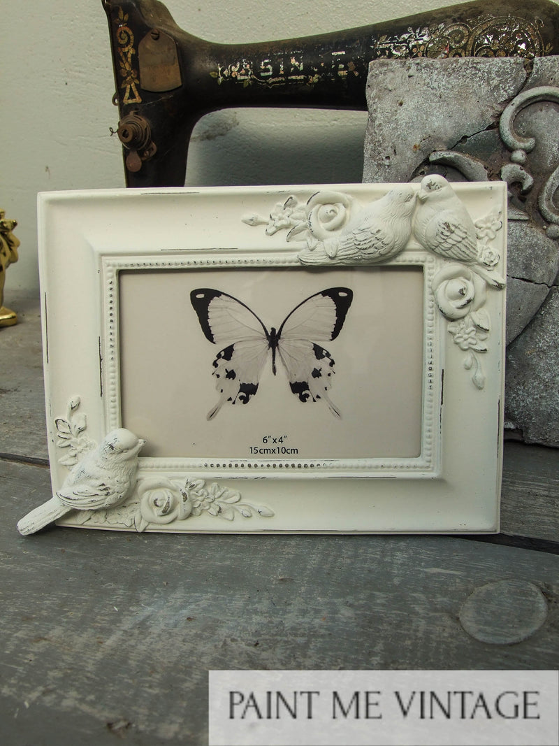 Picture Frame Antique White with Doves | Paint Me Vintage | Tauranga, New Zealand | chalk paint | chalkpaint | furniture painting | vintage paint | stencils | IOD | Iron Orchid Design | décor | furniture transfers | workshops | shabby chic bedroom | shabby chic furniture near me | shabby chic furniture ideas | shabby chic furniture stores | shabby chic living room furniture | photo frame | Picture Frame Antique White with Doves