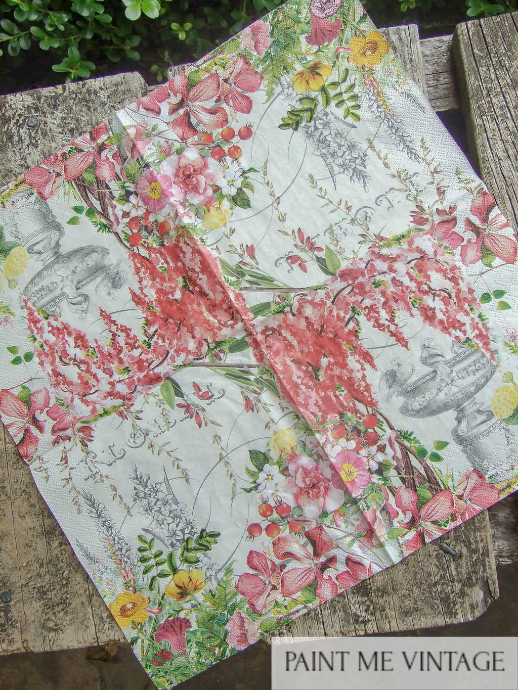 Napkin for Decoupage Fountain | Paint Me Vintage | Tauranga, New Zealand | chalk paint | chalkpaint | silicone mould | furniture painting | vintage paint | stencils | IOD | Iron Orchid Design | coloured wax | furniture wax | furniture transfers | workshops | vintage paint nz | painting old furniture nz | upcycling furniture nz | vintage paint stockists | Napkin for Decoupage Fountain