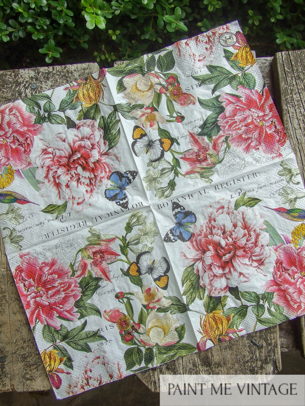 Napkin for Decoupage Peony and Butterfly NZ