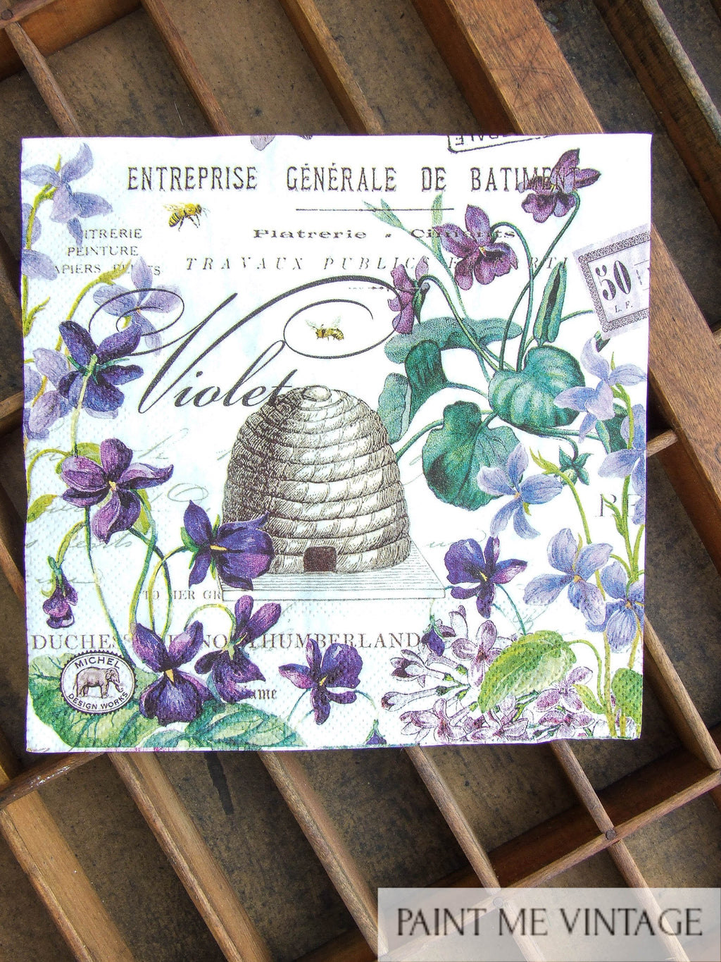 Napkin for Decoupage Lilac, Violets Hive NZ
