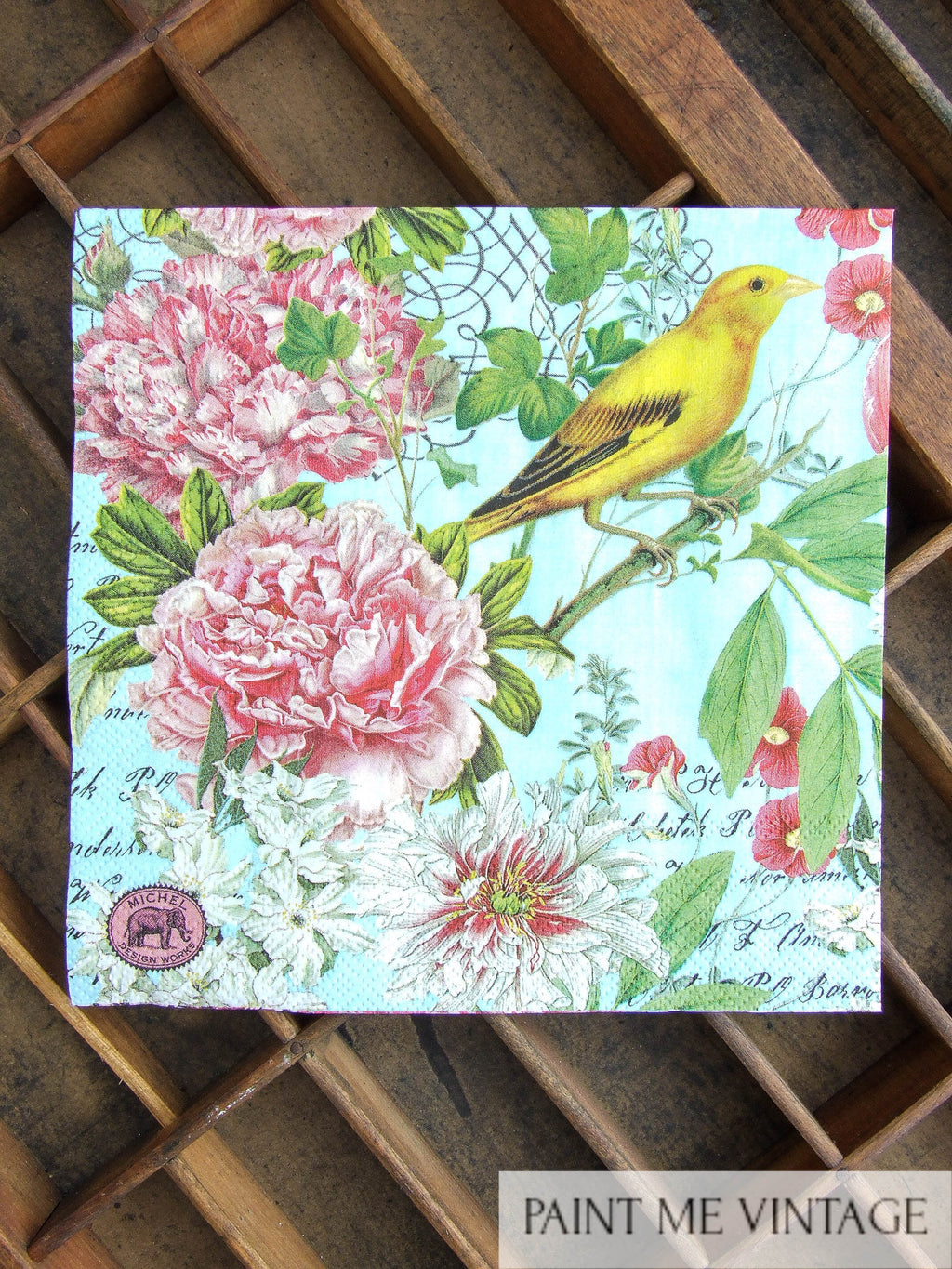 Napkin for Decoupage Bird & Gorgeous Gardens | Paint Me Vintage |  Tauranga, New Zealand | chalk paint | furniture painting | vintage paint | stencils | IOD | Iron Orchid Design | furniture transfers | workshops