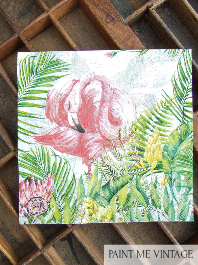 Napkin for Decoupage Flamingo