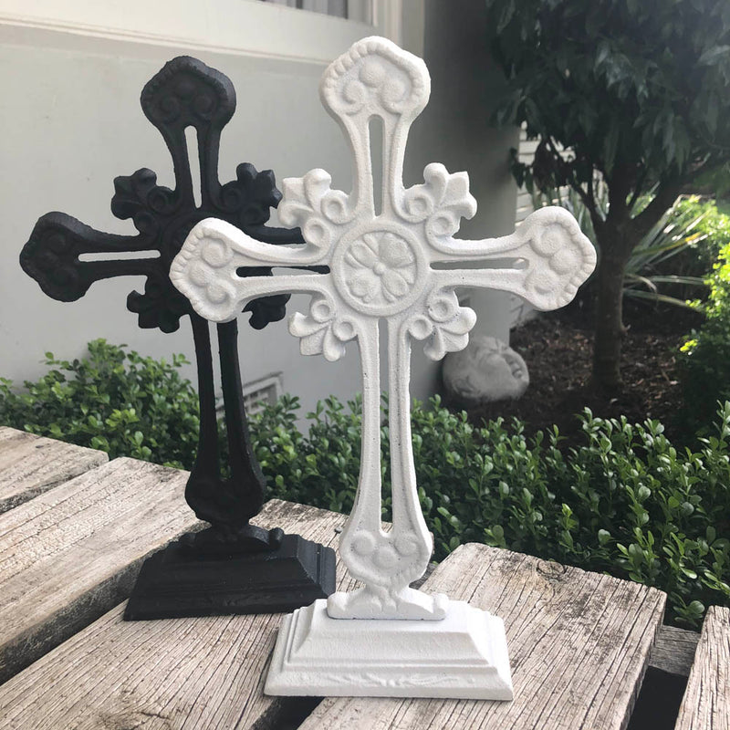 White Cross on Base Metal