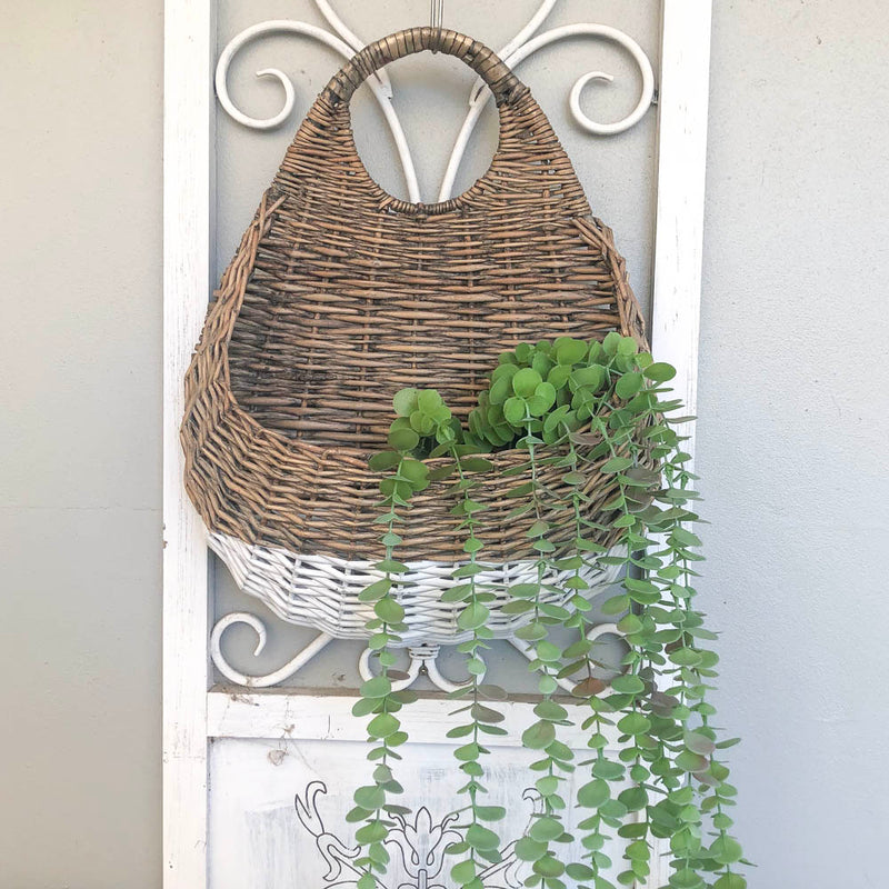 Hanging White Dip Cane Basket