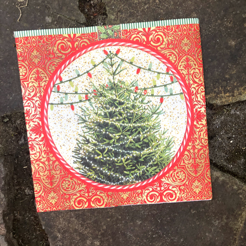 Christmas Tree Napkin for Decoupage