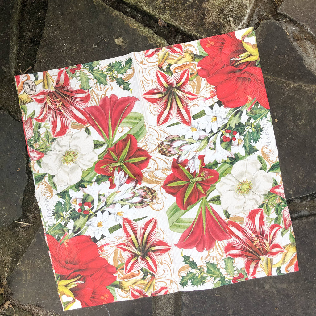 Red Holly Napkin for Decoupage