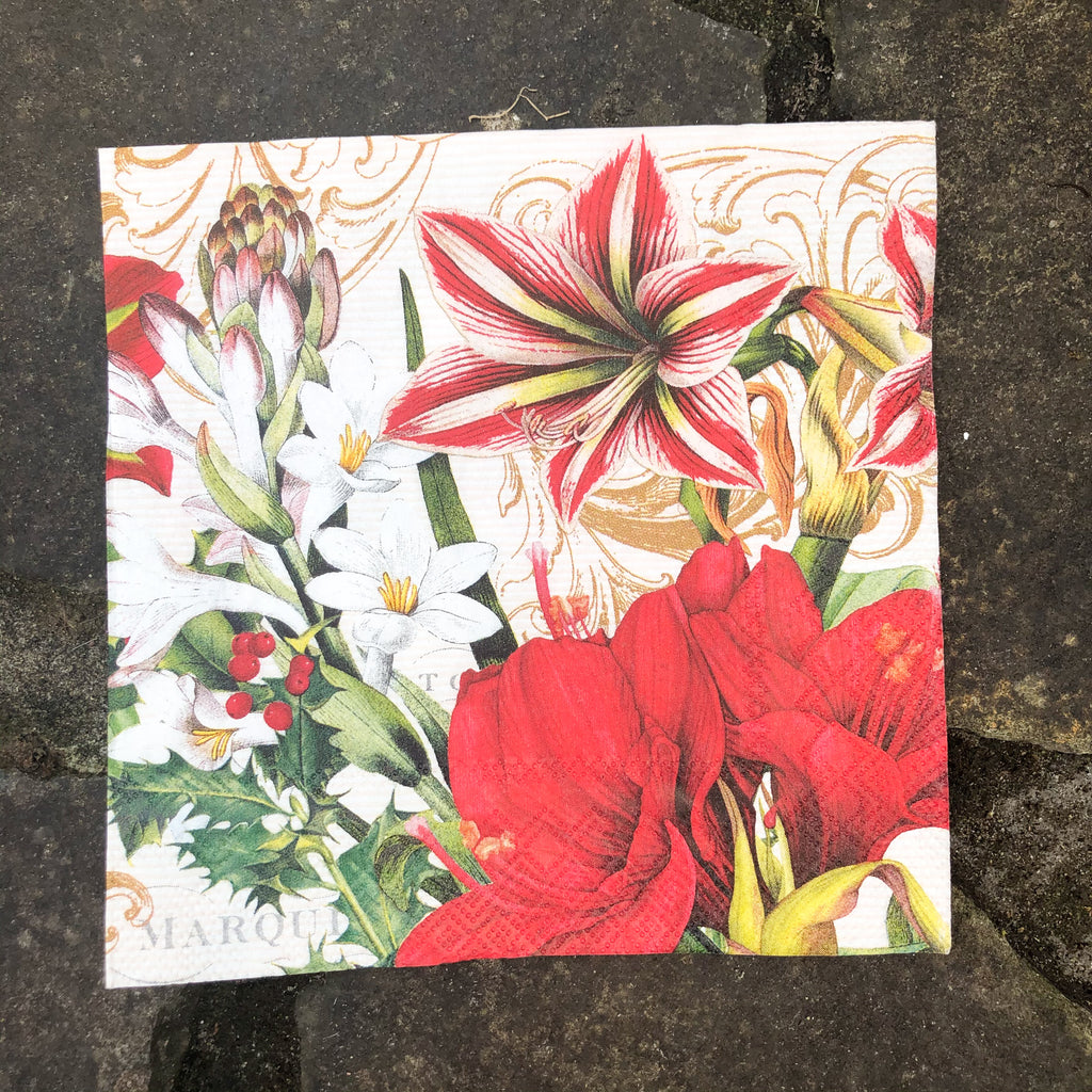 Red holly flowers napkin for decoupage