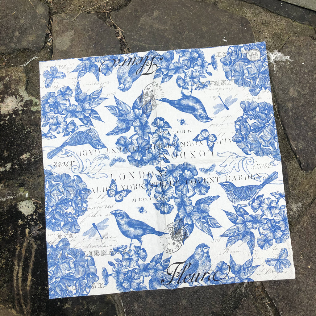 Blue & White Birds Napkin for Decoupage