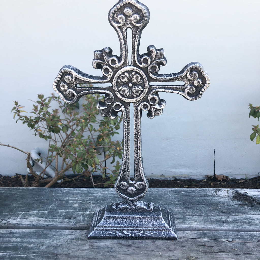 Black Silver Cross on Base Metal