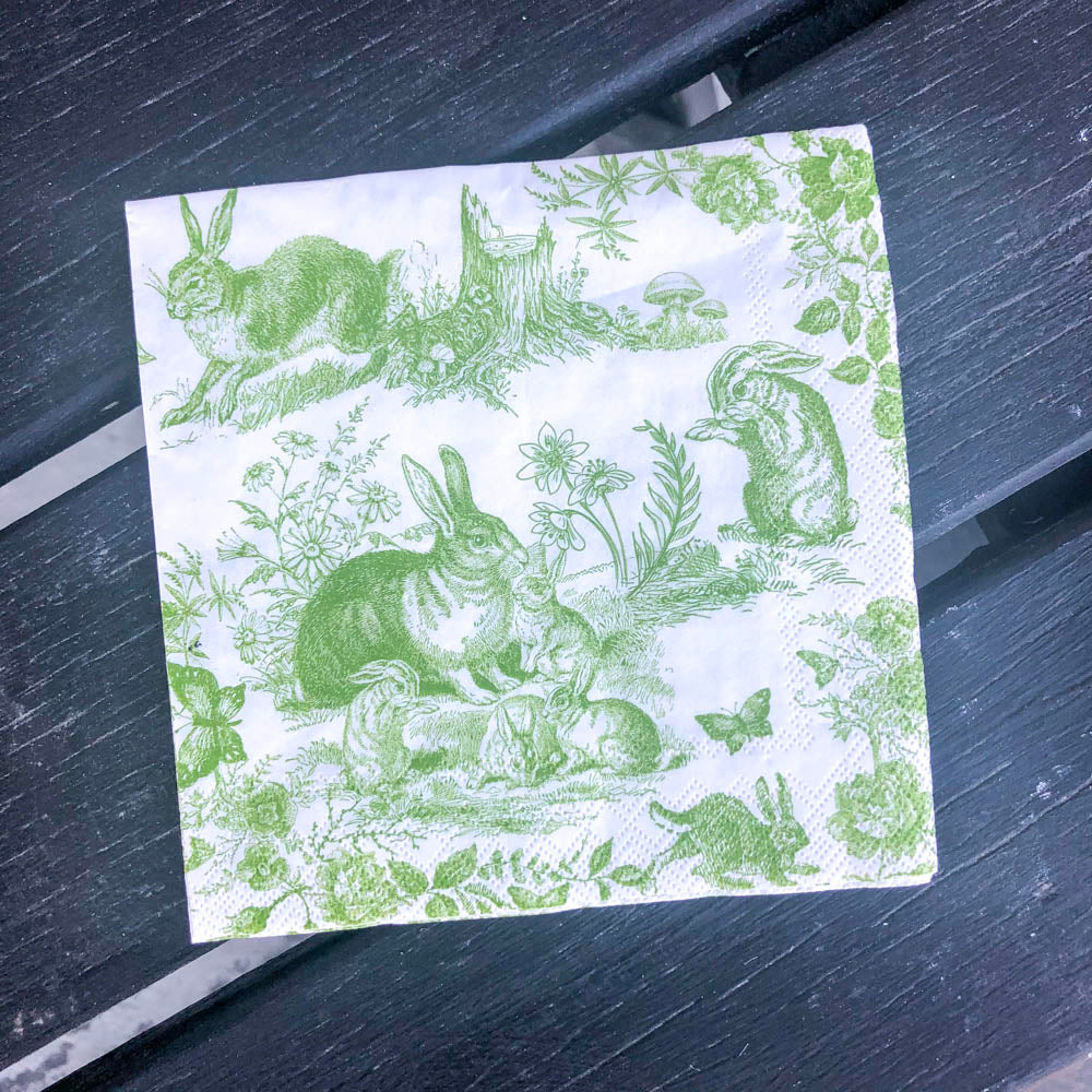 Green and white Bunny Toile Napkin