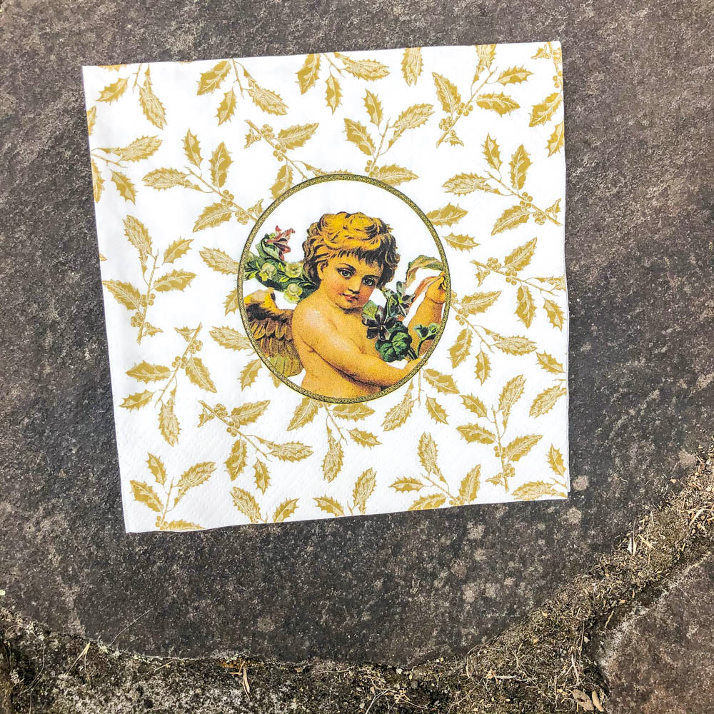 Napkin for Decoupage Cherub and Gold Holly