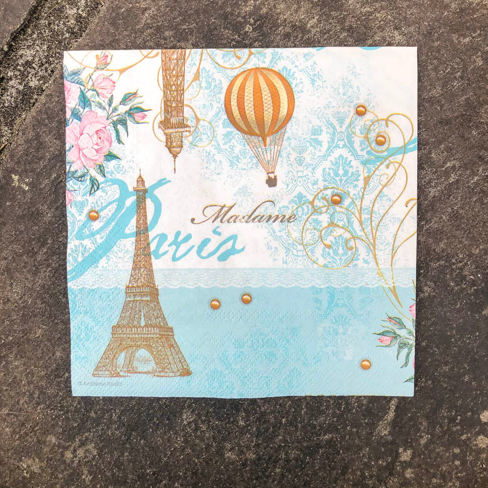 Napkin for Decoupage Eiffel Tower & Air Balloon NZ