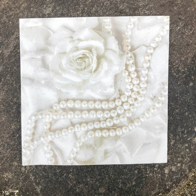 Napkin for Decoupage Pearls & Rose