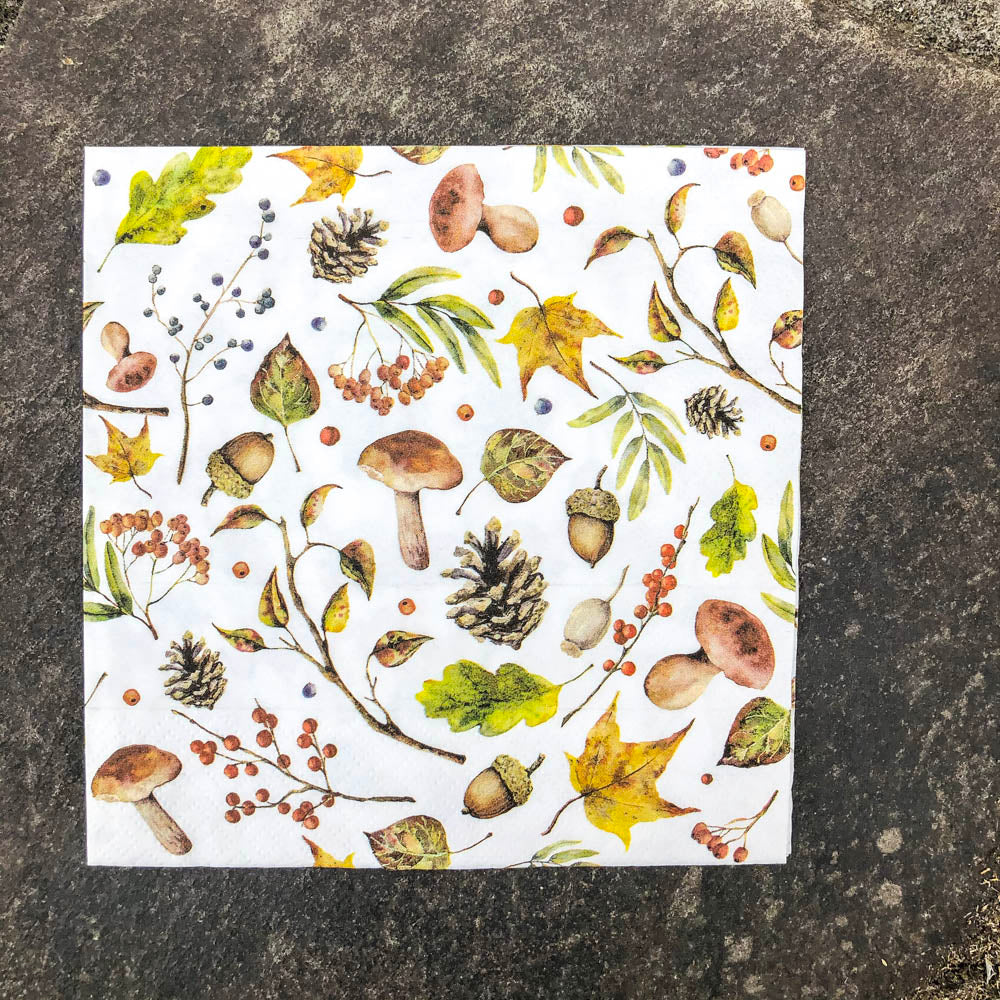 Napkin for Decoupage Mushrooms and Acorns NZ